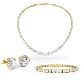 Eternity Diamond CZ 18ct Gold finished Silver Jewellery Set