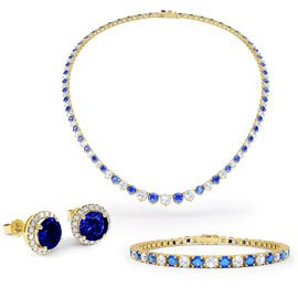 Eternity Sapphire CZ 18ct Gold plated Silver Jewellery Set