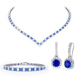 Princess Sapphire CZ Rhodium plated Silver Jewellery Set