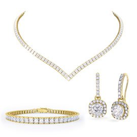 Princess Diamond CZ 18ct Gold plated Silver Jewellery Set