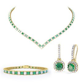 Princess Emerald CZ 18ct Gold plated Silver Jewellery Set