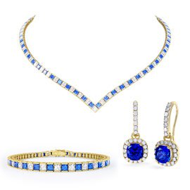 Princess Sapphire CZ 18ct Gold plated Silver Jewellery Set