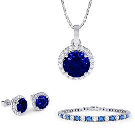 Eternity Sapphire Platinum plated Silver Jewellery Set with Pendant