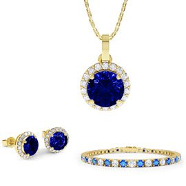 Eternity Sapphire 18ct Gold Vermeil Jewellery Set with Pendant