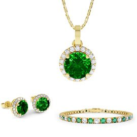 Eternity Emerald 18ct Gold Vermeil Jewellery Set with Pendant