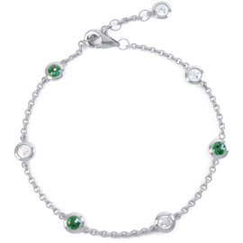 By the Yard Emerald Platinum plated Silver Bracelet