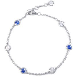 By the Yard Sapphire Platinum plated Silver Bracelet