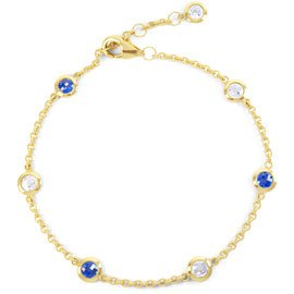 By the Yard Sapphire 18ct Gold Vermeil Bracelet
