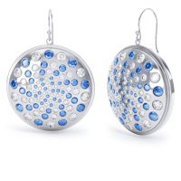 Fibonacci Blue and White Sapphire Silver Earrings