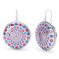 Fibonacci 10.4ct Ruby and Sapphire Silver Earrings