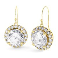 Eternity 2ct Diamond Halo 18ct Yellow Gold Drop Earrings