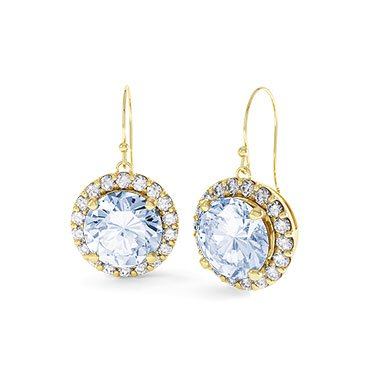 Halo Aquamarine 18ct Gold Vermeil Drop Earrings