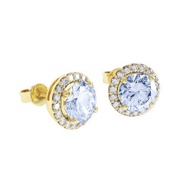Halo Aquamarine 18ct Gold Vermeil Stud Earrings