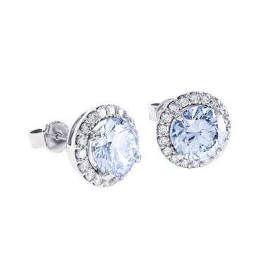 Halo Aquamarine Platinum plated Silver Stud Earrings