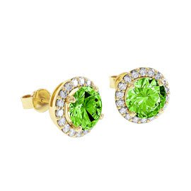 Halo 2ct Peridot 18ct Gold Vermeil Stud Earrings