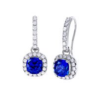 Princess 2ct Sapphire Halo Platinum plated Silver Pave Drop Earrings