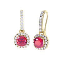 Princess 2ct Ruby Halo 18ct Gold Vermeil Pave Drop Earrings