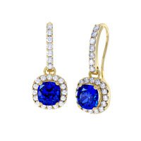 Princess 2ct Sapphire Halo 18ct Gold Vermeil Pave Drop Earrings