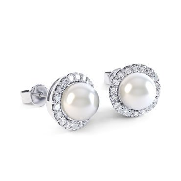 Venus Pearl Halo 18ct White Gold Stud Earrings
