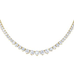 Eternity Diamond CZ 18ct Gold plated Silver Tennis Necklace