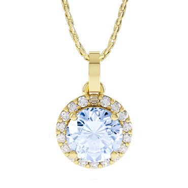 Halo Aquamarine 18ct Gold Vermeil Pendant