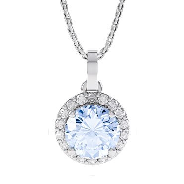 Halo Aquamarine 18ct White Gold Pendant