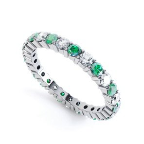 Promise Emerald and White Sapphire 18ct White Gold Full Eternity Ring 2.5mm Band