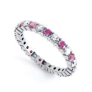 Promise Ruby and White Sapphire Platinum plated Silver Full Eternity Ring 2.5mm Band