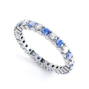 Promise Blue and White Sapphire 18ct White Gold Full Eternity Ring 2.5mm Band
