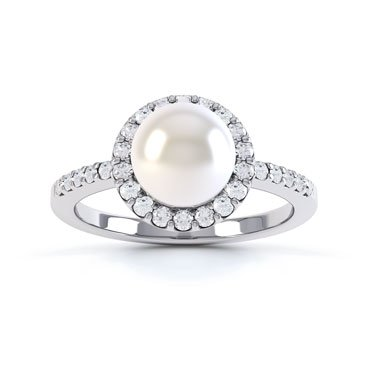 Venus Pearl and White Sapphire Halo Silver Promise Ring (WHITE GOLD)